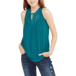 Teal Tank Top with Lace Accents